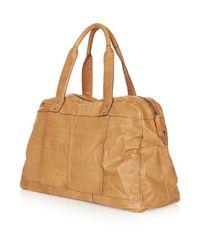 TOPSHOP - Brown Vintage Tan Angled Zip Luggage Bag - Lyst
