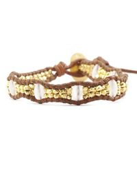 Chan Luu - Pink Rose Quartz and Gold Single Bracelet On Natural Brown Leather - Lyst