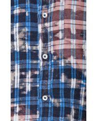MSGM - Blue Linen and Cotton Blend Plaid Shirt - Lyst