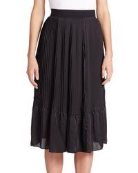 TOME - Black Pleated Satin Skirt - Lyst