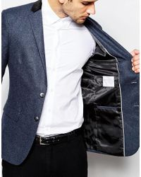 SELECTED - Blue Wool Blazer With Velvet Back Neck In Slim Fit for Men - Lyst