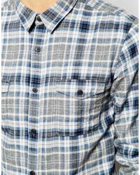 SELECTED - Blue Brushed Check Shirt for Men - Lyst