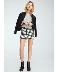 Forever 21 - Black Windowpane Print Shorts - Lyst