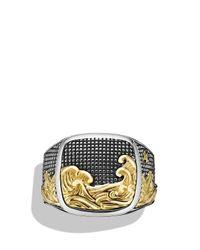 David Yurman | Metallic Waves Signet Ring With Gold for Men | Lyst