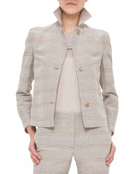 Akris - Natural Short Prince Of Wales Hemp Jacket - Lyst