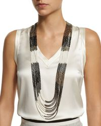 Brunello Cucinelli | Black Multi-strand Beaded Long Necklace | Lyst