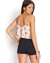 Forever 21 - White Floral Crop Top - Lyst