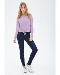Forever 21 - Purple Drawstring Heathered Sweatshirt - Lyst