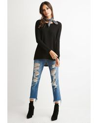 Forever 21 | Black Cutout-back Textured Sweater | Lyst