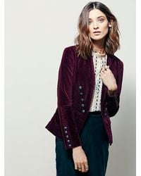 Free people Womens Structured Velvet Blazer in Red | Lyst