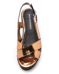 Won Hundred - Metallic Saga Low Flatform Sandals - Copper - Lyst