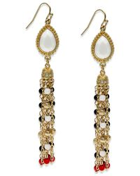 INC International Concepts - Red Gold-tone Teardrop Linear Drop Earrings - Lyst