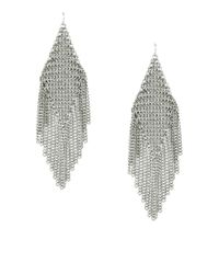 BCBGMAXAZRIA | Gray Mesh Chain Fringe Earrings | Lyst