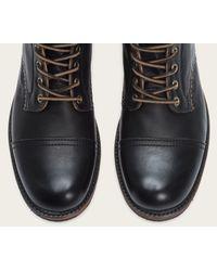 Frye   Black Logan Cap-Toe Leather Boots  for Men   Lyst