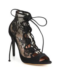 Tabitha Simmons - Black Lace & Suede Lace-up Booties - Lyst