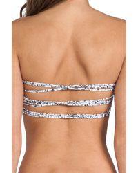Mikoh Swimwear | Blue Sunset Triple Looped Bandeau in Black | Lyst