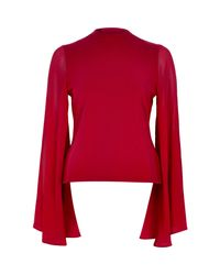 River Island - Red Flared Sleeve Cut-out Back Top - Lyst