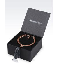 Emporio Armani | Pink Bracelet And Earrings In Rose Gold-plated Silver | Lyst