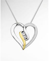 Lord & Taylor | Metallic Open Heart Pendant In Sterling Silver With 14 Kt. Yellow Gold And Diamond | Lyst