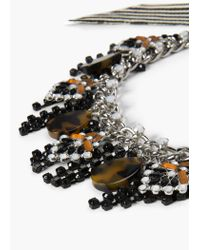 Mango - Black Waterfall Bow Necklace - Lyst