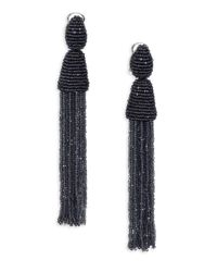 Oscar de la Renta | Black Long Beaded Tassel Clip-on Earrings | Lyst