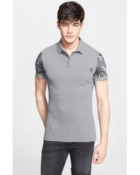 Versace Jeans - Gray Sleeve Print Cotton Pique Polo for Men - Lyst