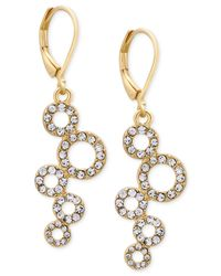 T Tahari - Metallic Gold-tone Pavé Squiggle Circle Drop Earrings - Lyst