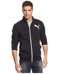 PUMA | Black Men's Fleece Full-zip Track Jacket for Men | Lyst
