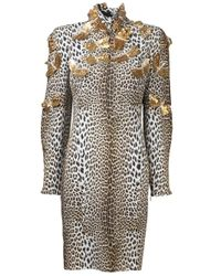 Emanuel Ungaro | Brown Embroidered Leopard Print Dress | Lyst
