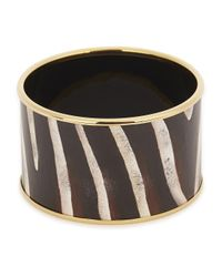 Halcyon Days | Multicolor Zebra 18Kt Gold Trimmed Enamel Bangle | Lyst