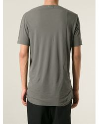 Lost & Found - Gray Contrasting Strip Detail T-Shirt for Men - Lyst