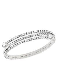 Swarovski | Metallic Silvertone And Crystal Twisted Bangle Bracelet | Lyst