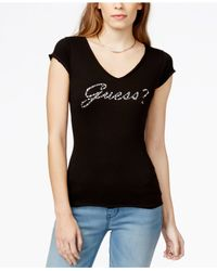 Guess - Black Embellished Graphic T-shirt - Lyst