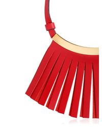 Marni | Red Fringed Leather Necklace | Lyst