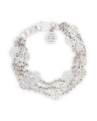 Tory Burch | Metallic Multistrand Logo Bracelet | Lyst