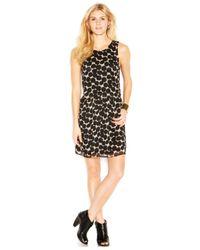 Lucky Brand | Black Lucky Brand Sleeveless Dot-Print Layered-Look Silk Dress | Lyst
