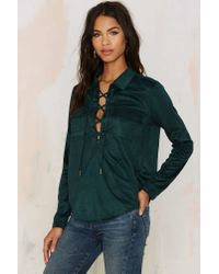 Nasty Gal | Mari Lace Up Top - Hunter Green | Lyst