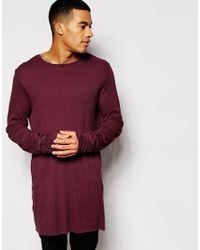 10505c6ca2aa ASOS - Purple Super Longline Long Sleeve T-shirt In Lightweight Rib Fabric  With Raw
