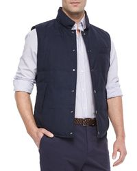 Brunello Cucinelli | Blue Reversible Snap-front Vest for Men | Lyst
