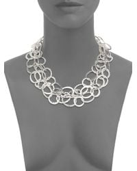 Saks Fifth Avenue - Metallic Triplerow Hammered Link Necklace - Lyst