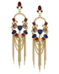 BCBGeneration | Metallic Gold-tone Drama Stone And Chain Drop Earrings | Lyst