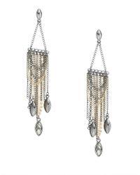 ABS By Allen Schwartz - Metallic Chain And Rhinestone Drop Earrings - Lyst