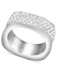 Swarovski | White Rhodium-plated Pave Crystal Square Ring | Lyst