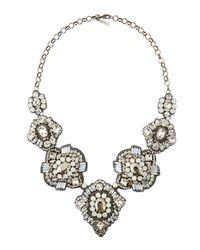 Deepa Gurnani | Gray Mixed-Shape Crystal Bib Necklace | Lyst