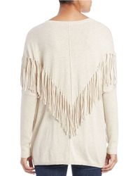 DKNY | Natural Fringed Pullover | Lyst