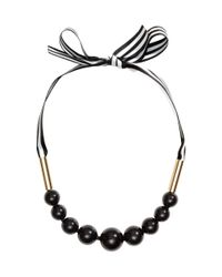 H&M - Black Necklace With A Tie - Lyst