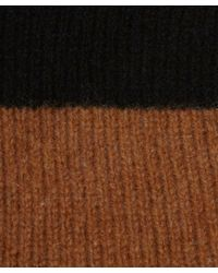 YMC - Black And Tan Striped Crew Neck Wool-cashmere Blend Jumper for Men - Lyst