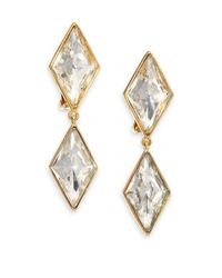 Kenneth Jay Lane | Metallic Jeweled Kite Drop Earrings | Lyst