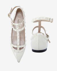 Valentino - Cage Ballet Flat: White - Lyst