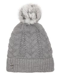 Vince Camuto | Gray Grey Cable Knit Fur Pom Hat | Lyst